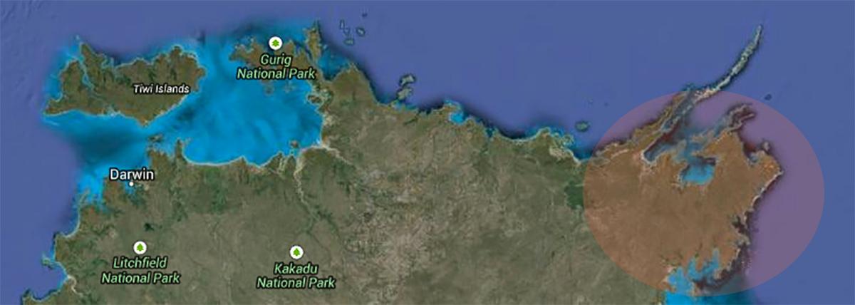map of Arhnem Land